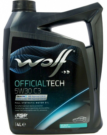Моторное масло WOLF OfficialTech SAE 5W-30 C3 (4л)